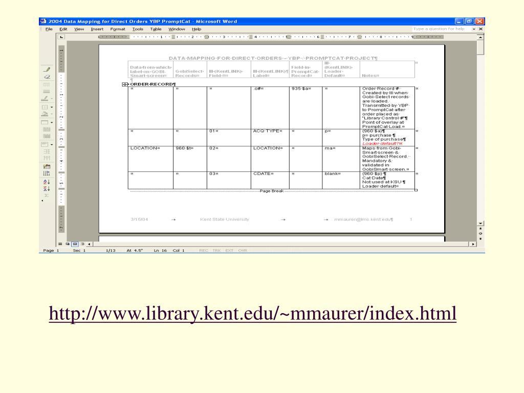http://www.library.kent.edu/~mmaurer/index.html