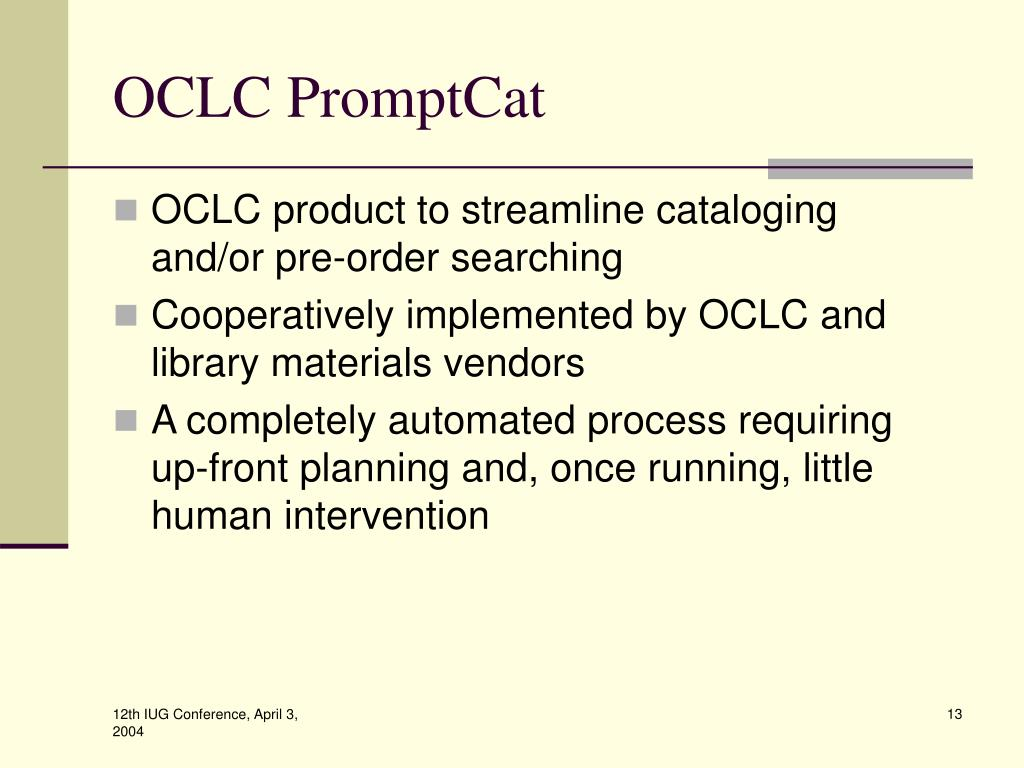 OCLC PromptCat