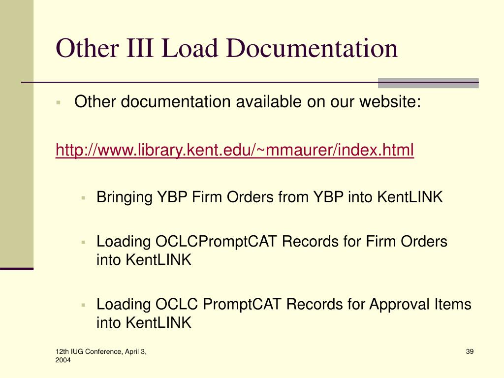 Other III Load Documentation