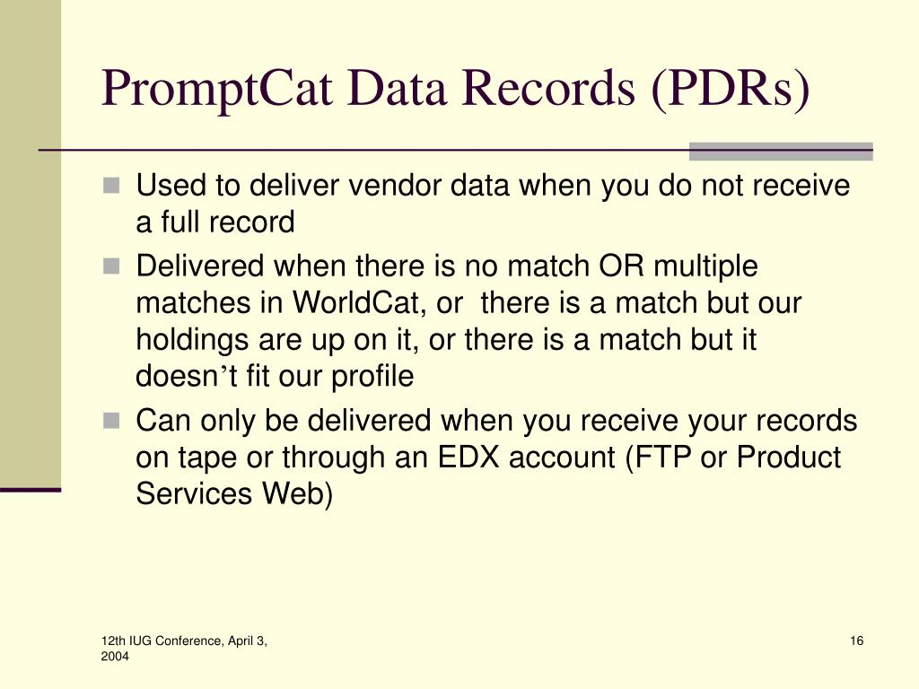 PromptCat Data Records (PDRs)