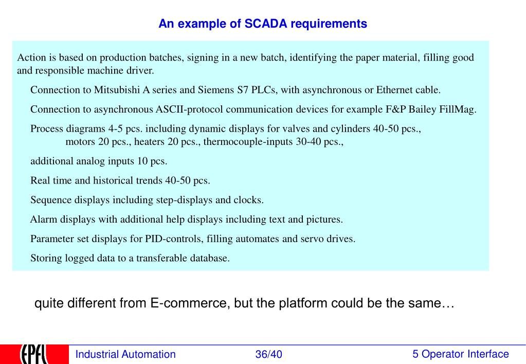 An example of SCADA requirements
