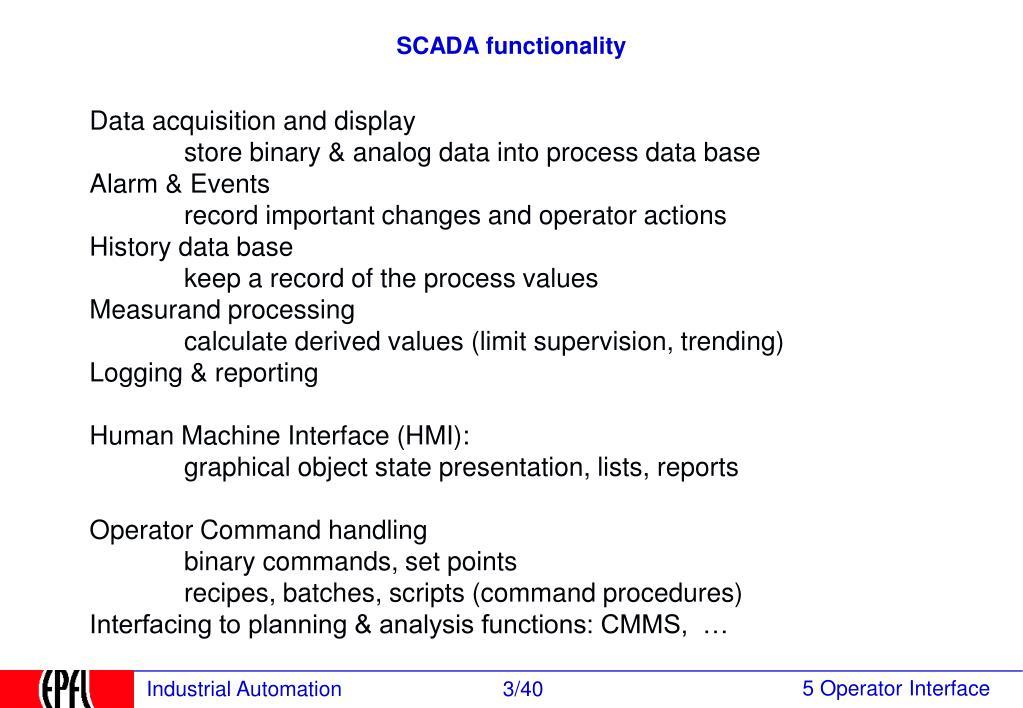 SCADA functionality