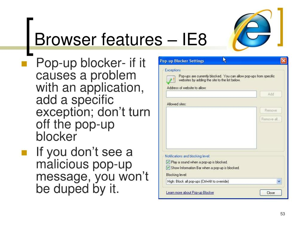 Browser features – IE8