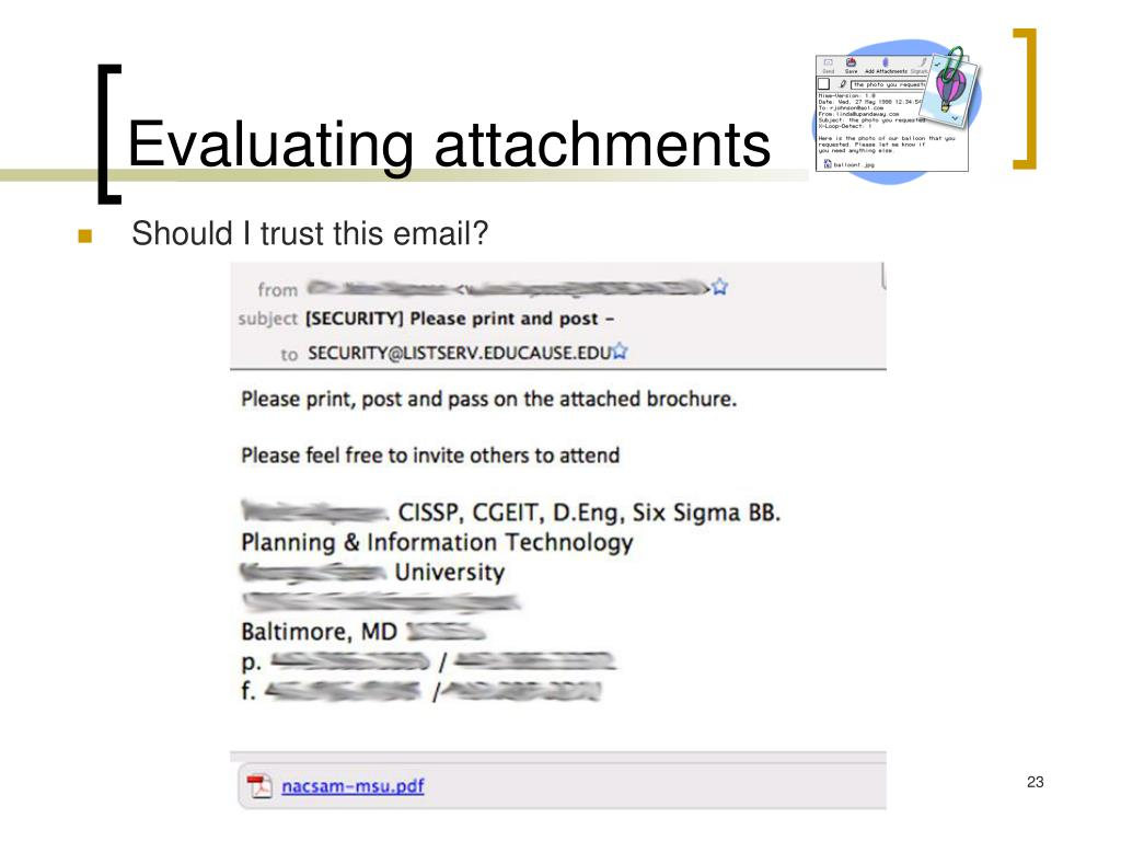 Evaluating attachments