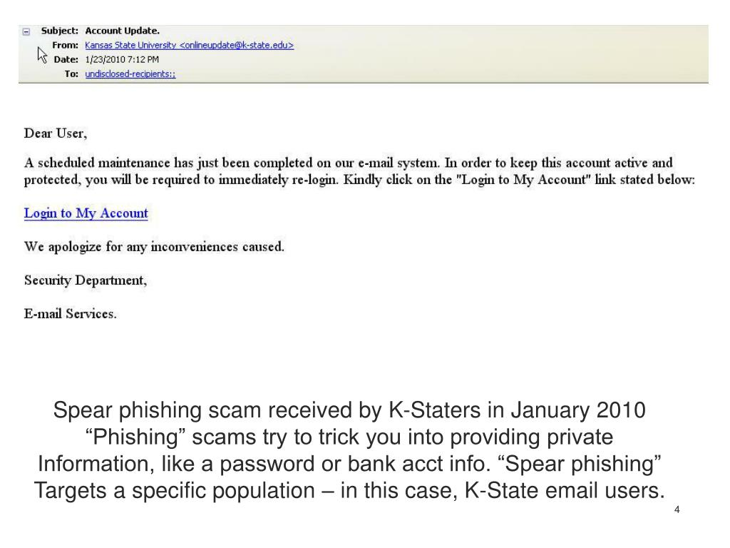 Spear phishing scam received by K-Staters in January 2010