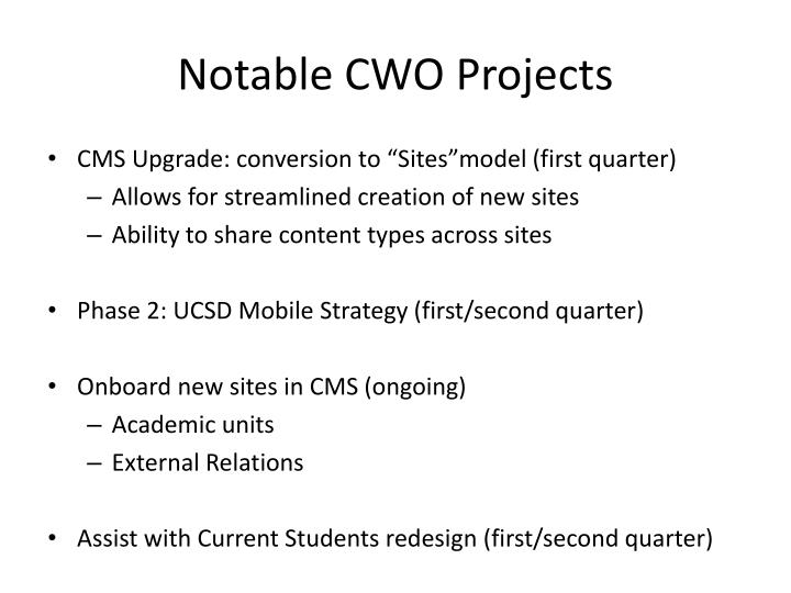 Notable CWO Projects