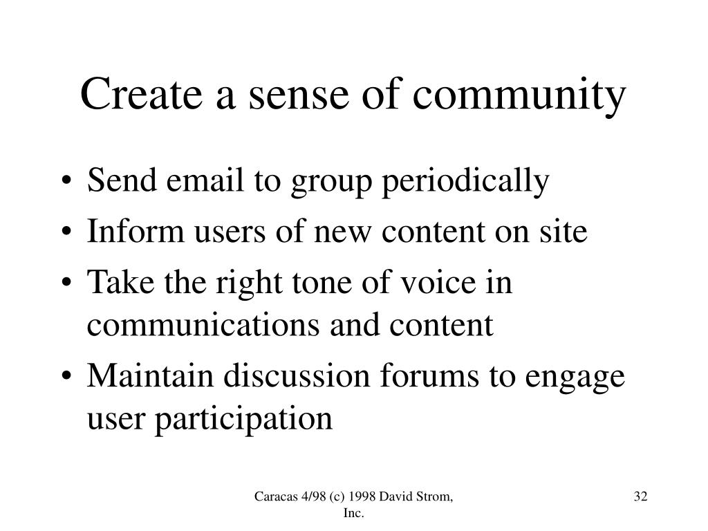 Create a sense of community