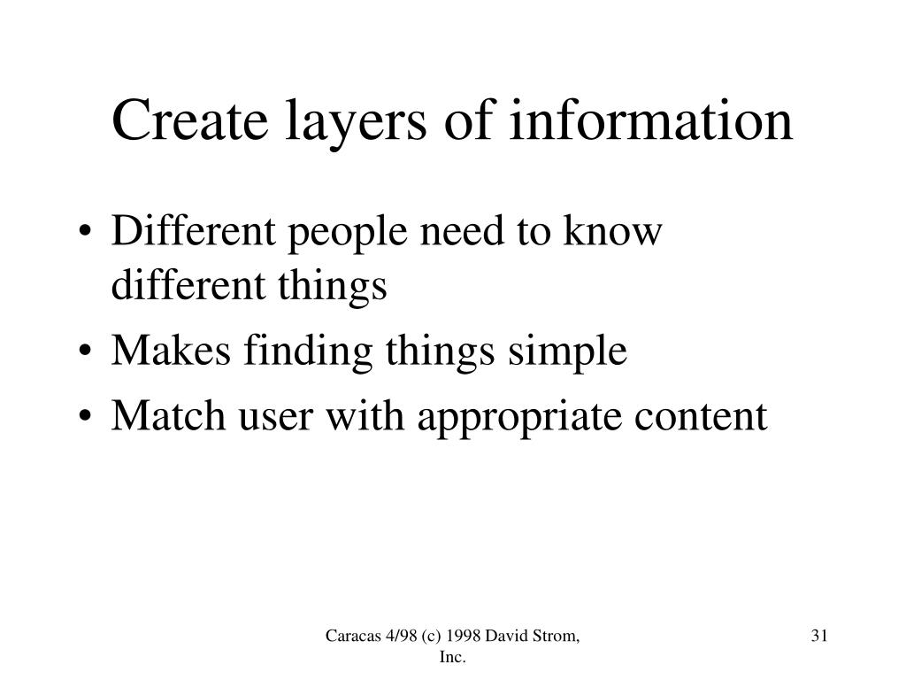 Create layers of information
