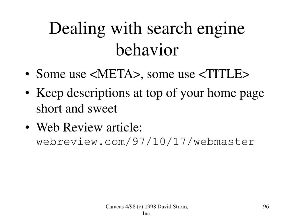 Dealing with search engine behavior