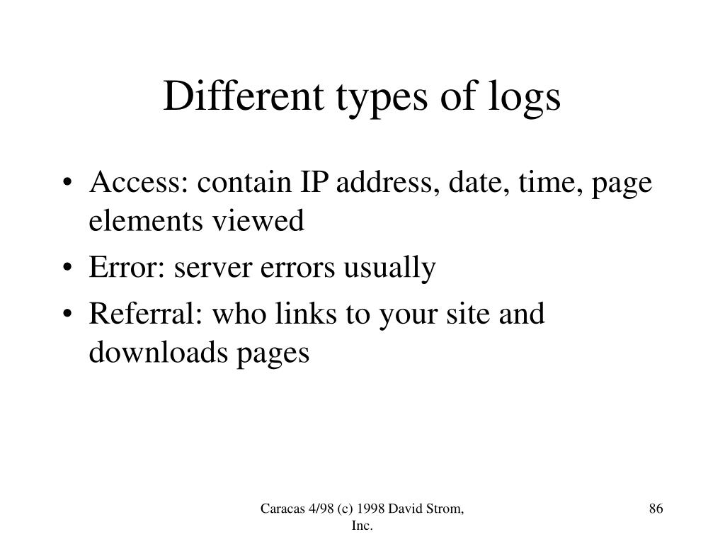 Different types of logs