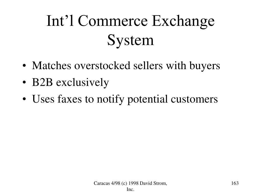Int'l Commerce Exchange System