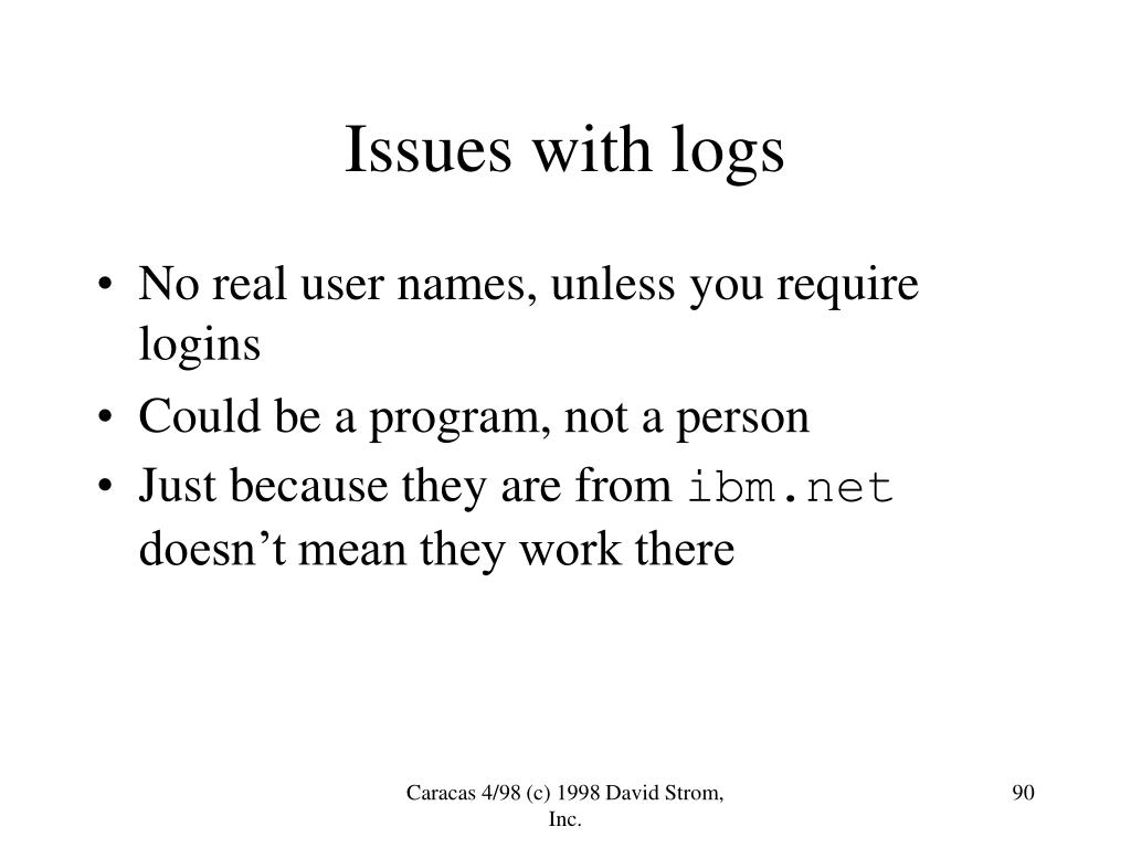Issues with logs
