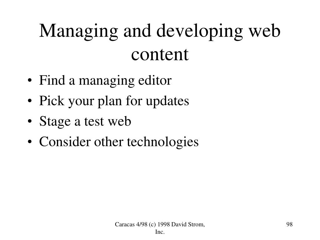 Managing and developing web content