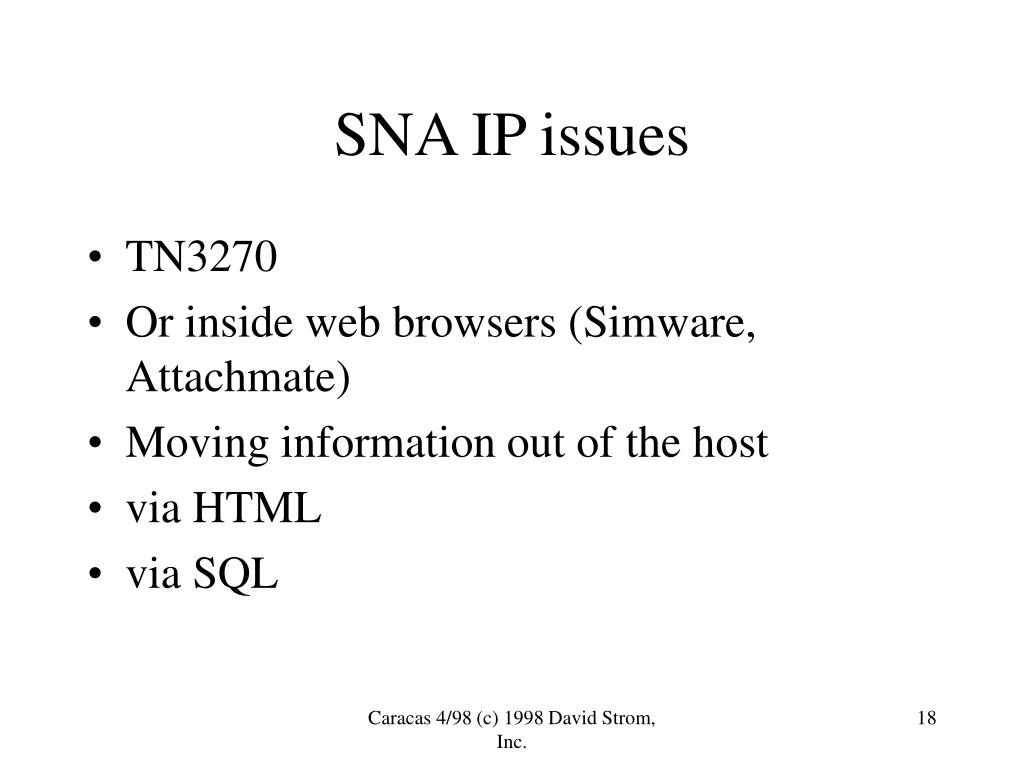 SNA IP issues