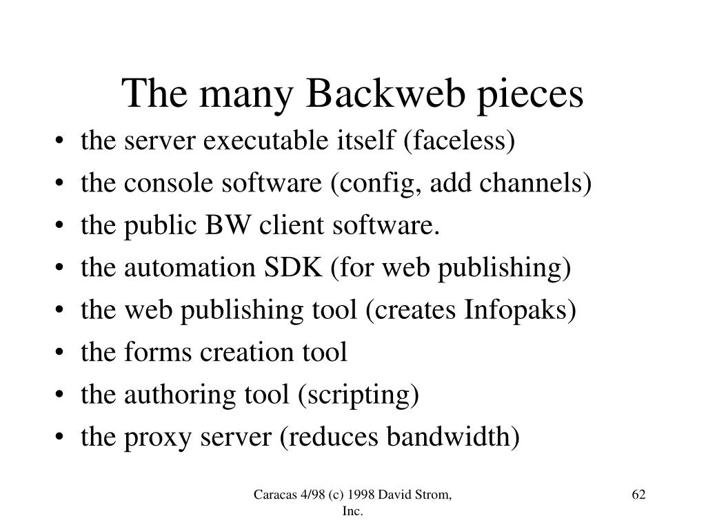 The many Backweb pieces