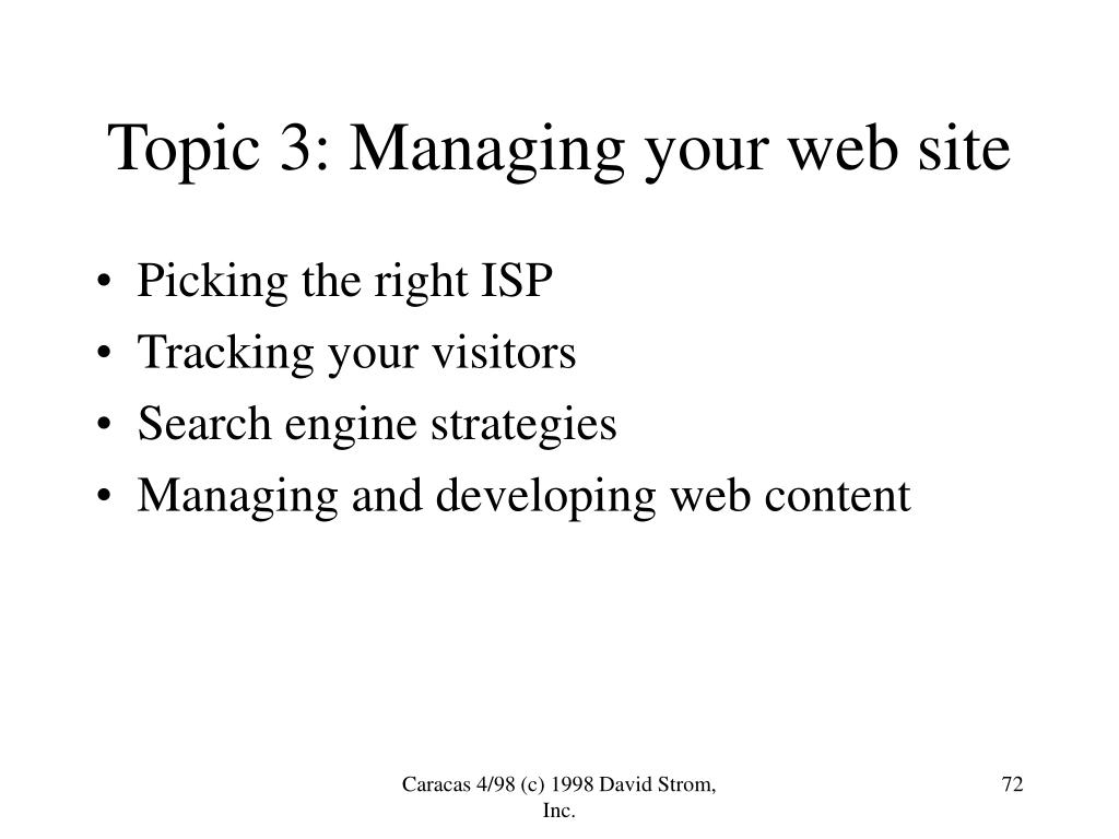 Topic 3: Managing your web site