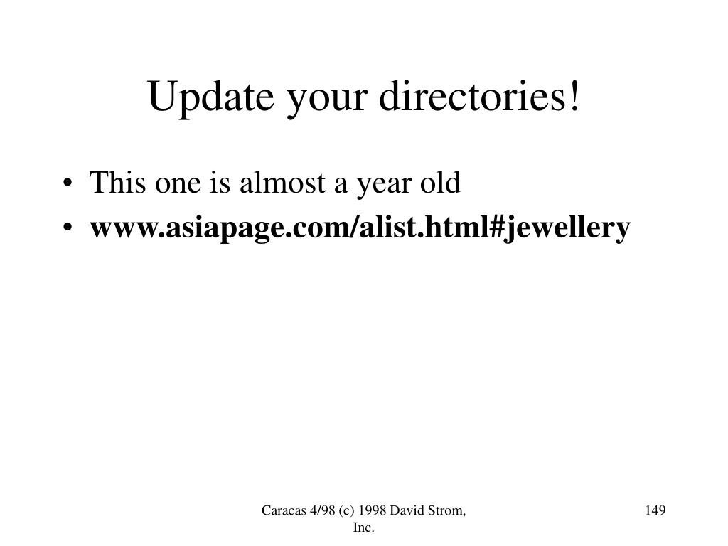 Update your directories!