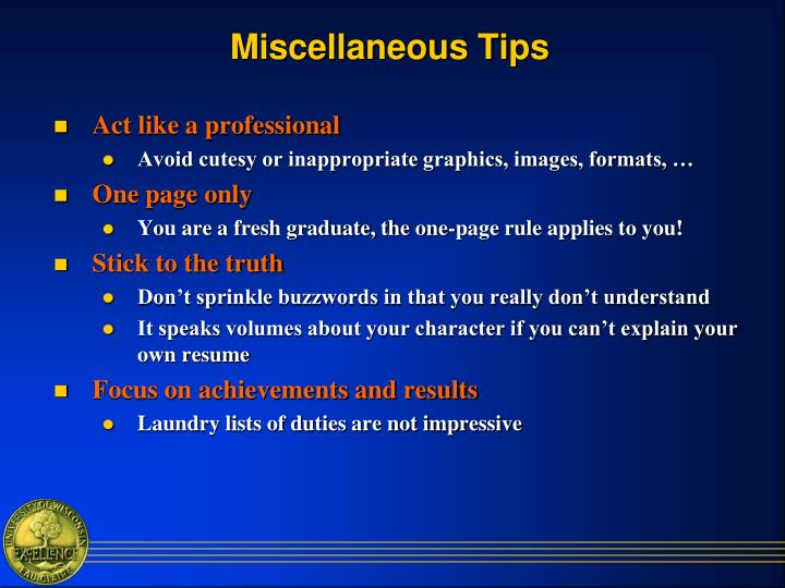 Miscellaneous Tips
