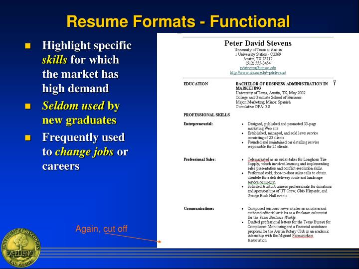 Resume Formats - Functional