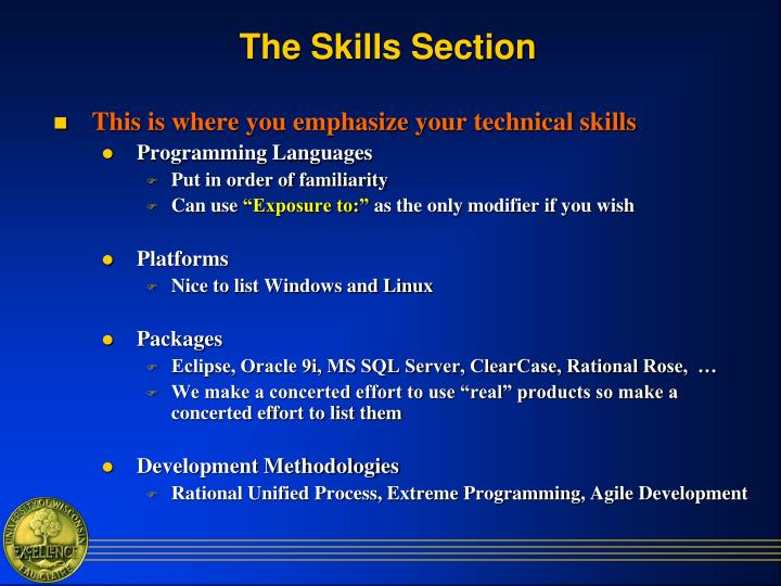 The Skills Section