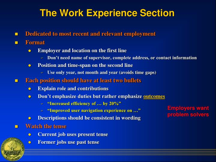 The Work Experience Section