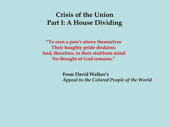 Crisis of the Union
