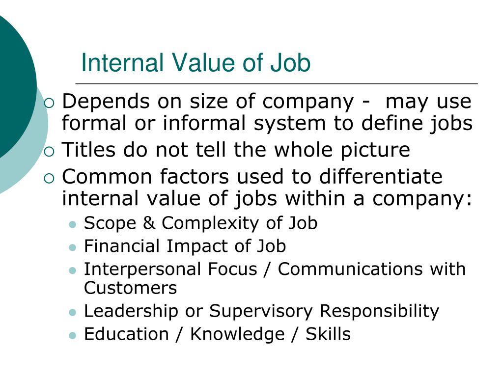 Internal Value of Job