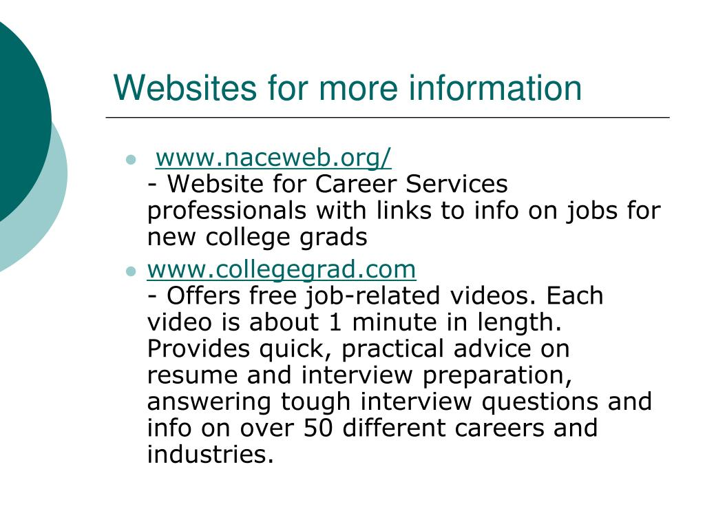 Websites for more information