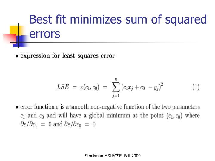 Best fit minimizes sum of squared errors