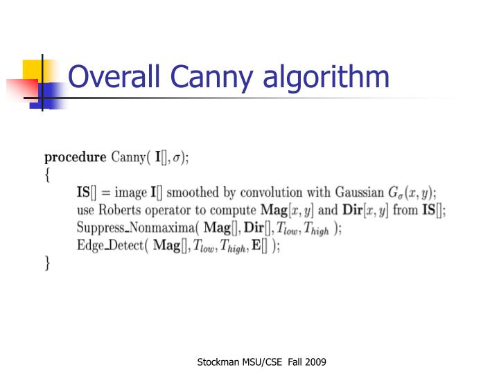 Overall Canny algorithm
