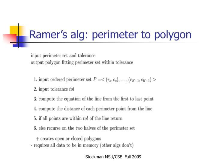 Ramer's alg: perimeter to polygon
