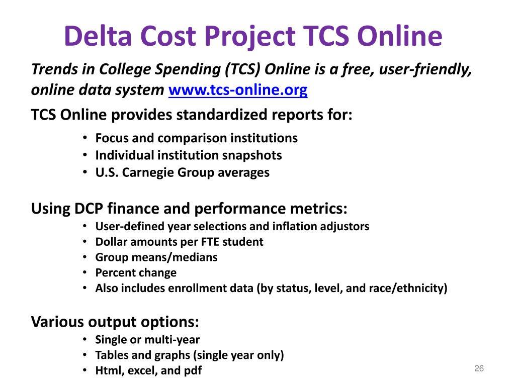 Delta Cost Project TCS Online