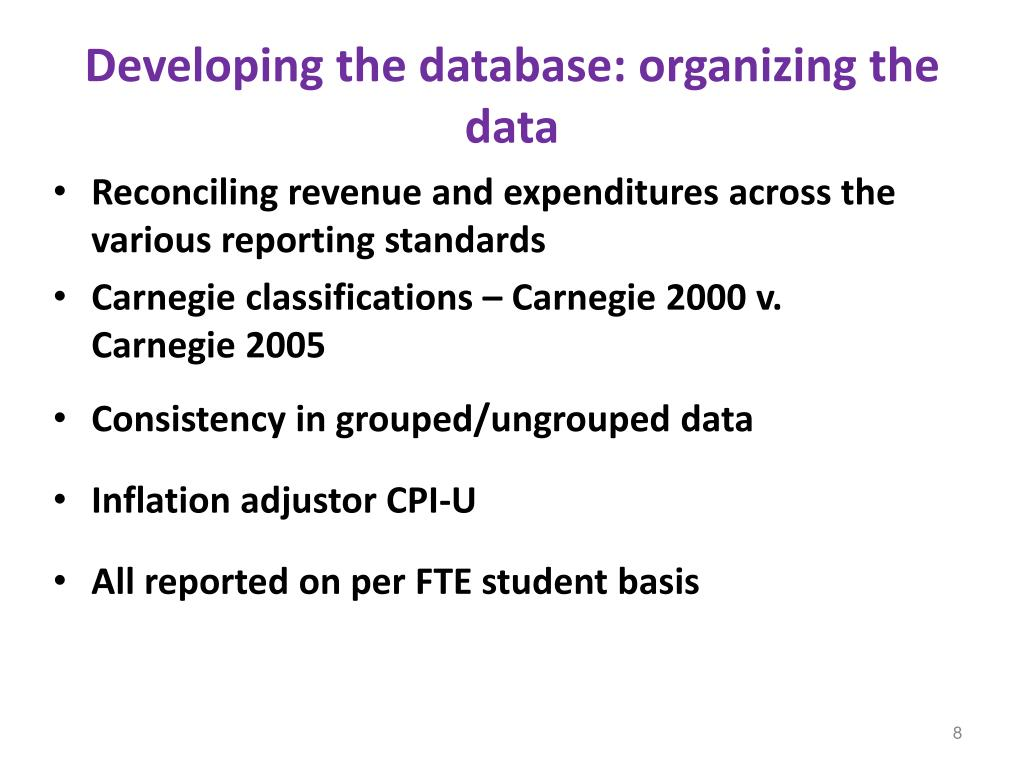 Developing the database: organizing the data
