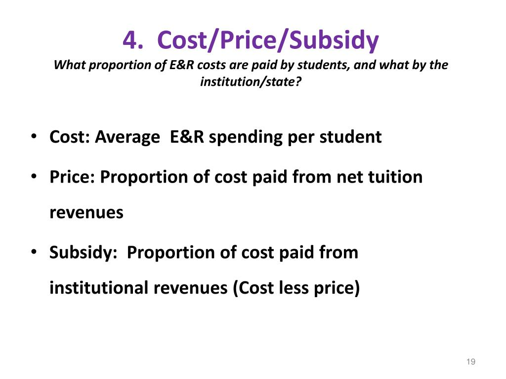 4.  Cost/Price/Subsidy