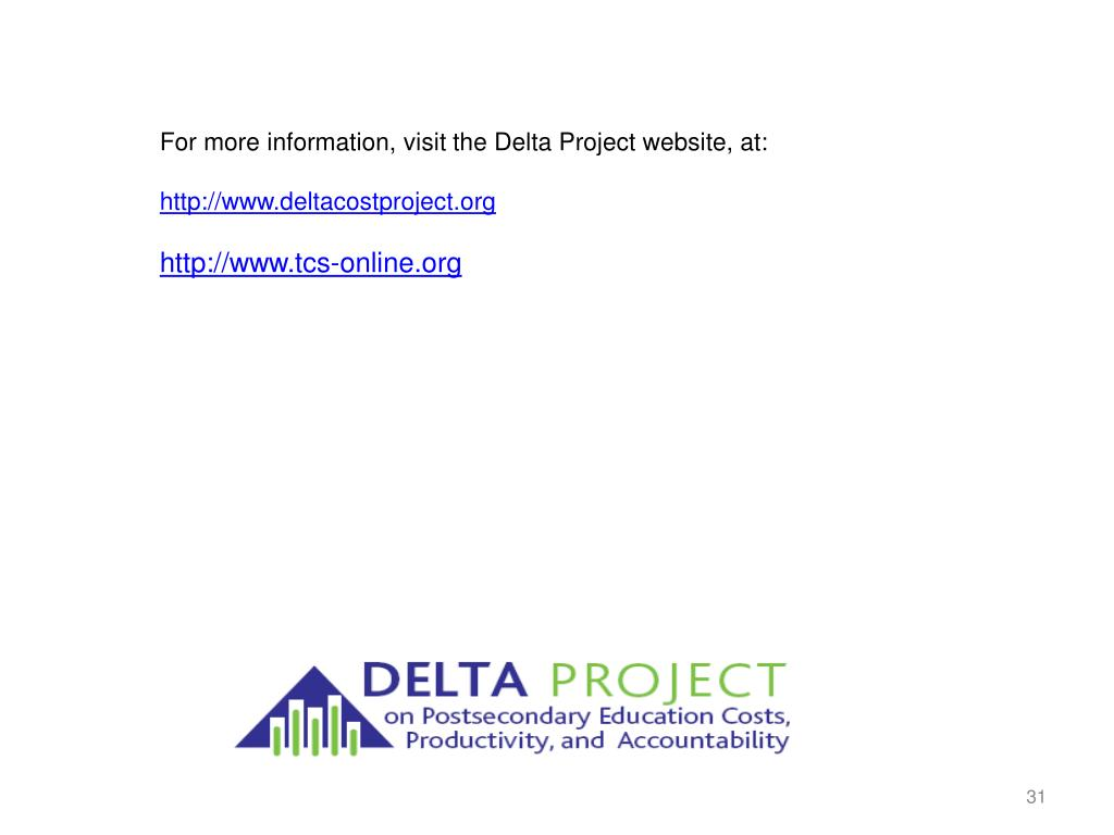 For more information, visit the Delta Project website, at: