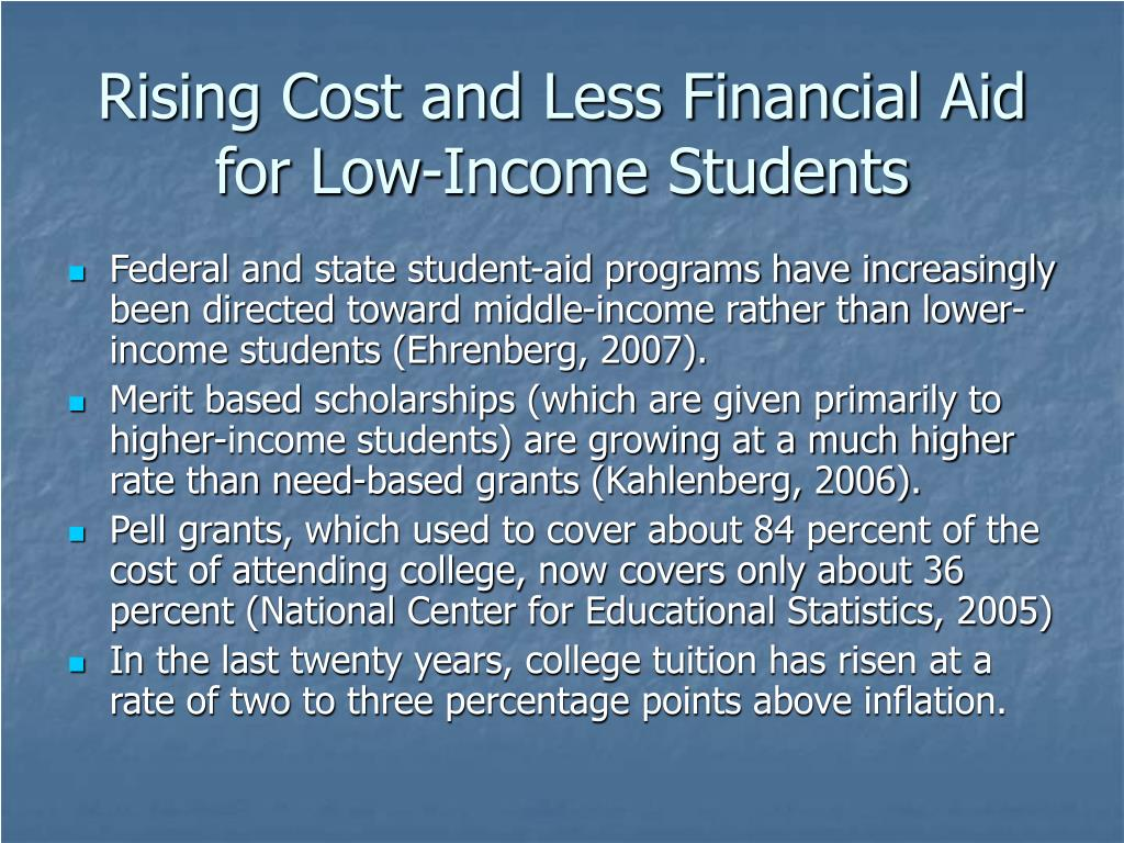 Rising Cost and Less Financial Aid for Low-Income Students