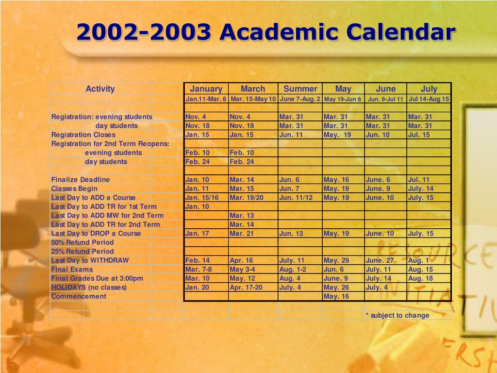 2002-2003 Academic Calendar