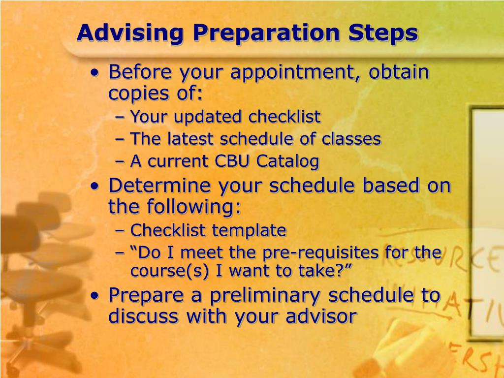 Advising Preparation Steps