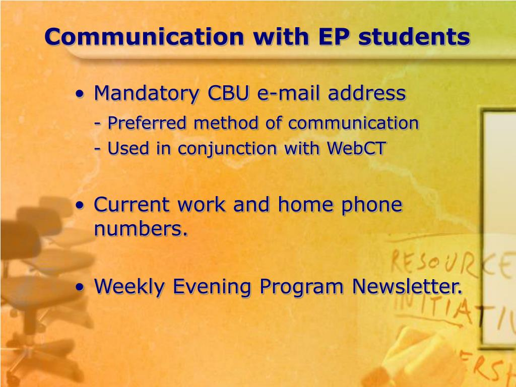 Communication with EP students