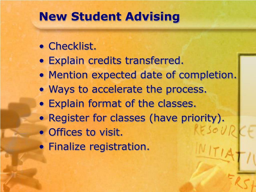 New Student Advising