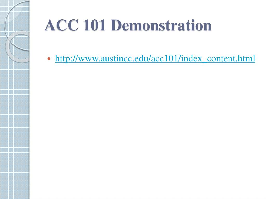 ACC 101 Demonstration