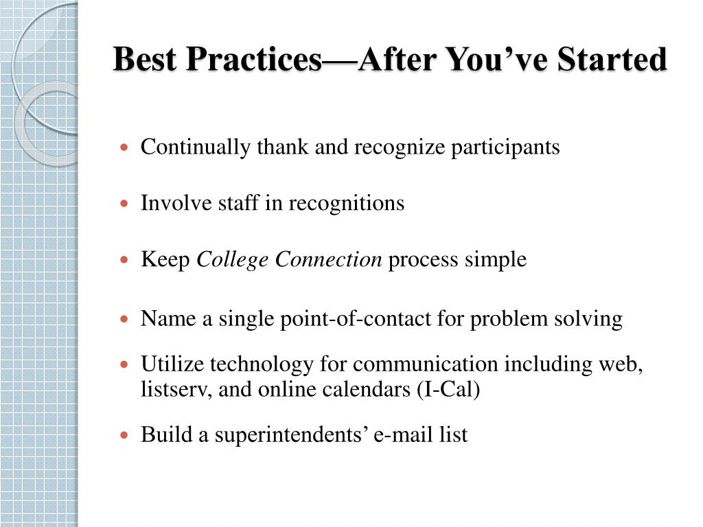 Best Practices—After You've Started