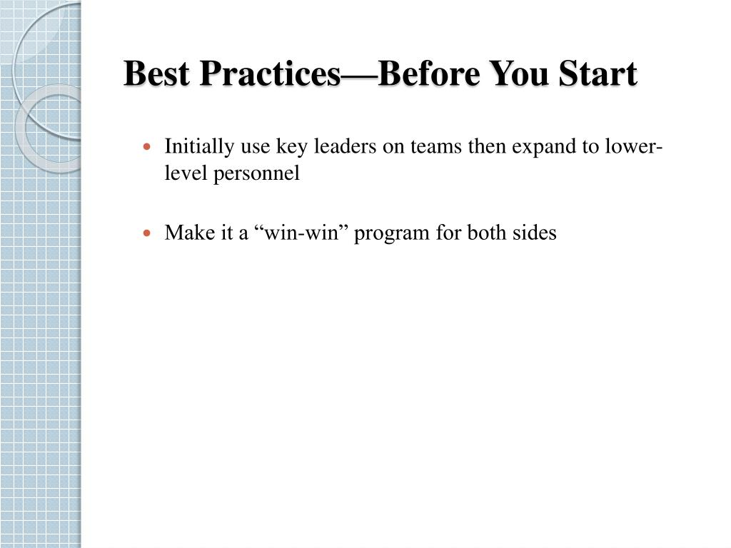 Best Practices—Before You Start