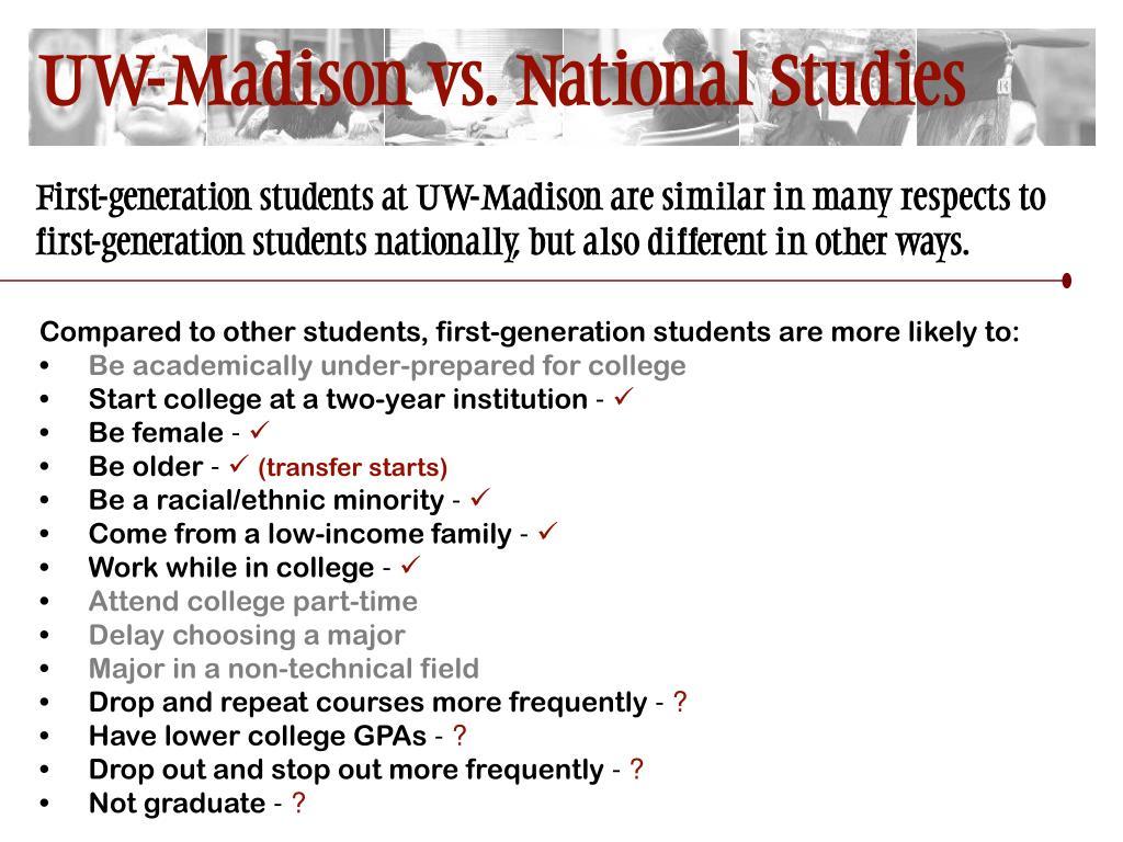 UW-Madison vs. National Studies