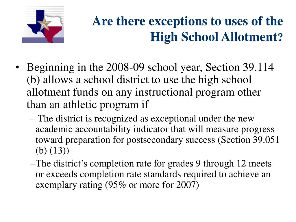 Are there exceptions to uses of the High School Allotment