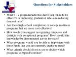 questions for stakeholders15
