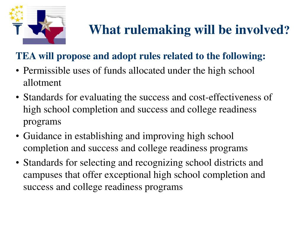 What rulemaking will be involved