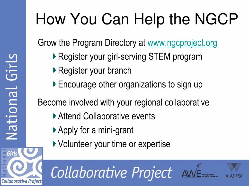 How You Can Help the NGCP