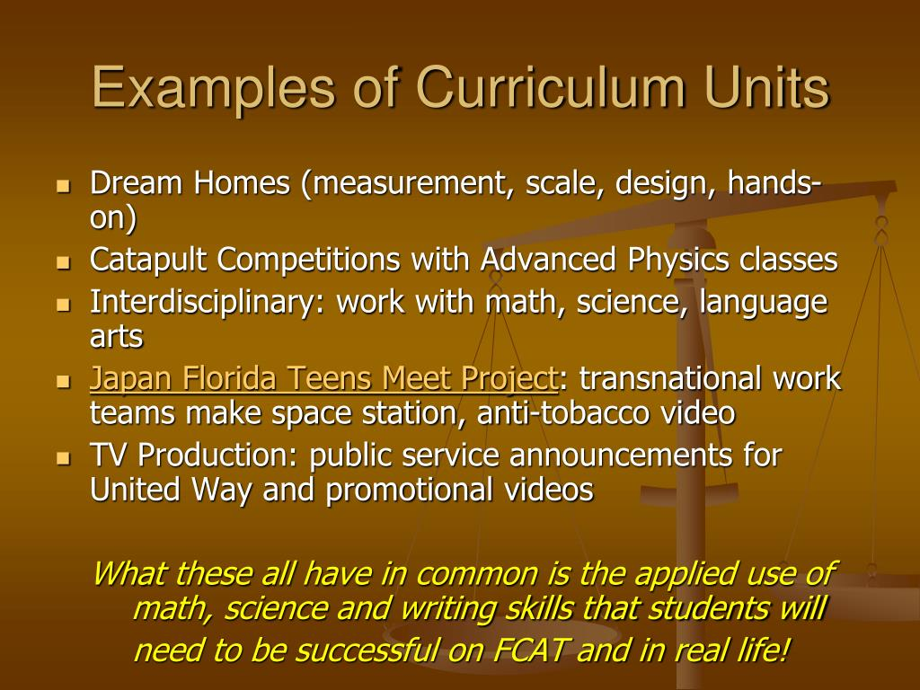 Examples of Curriculum Units
