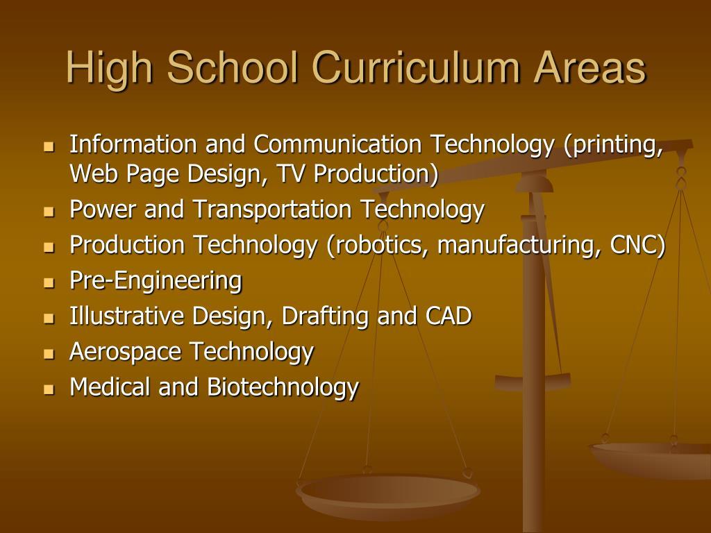 High School Curriculum Areas